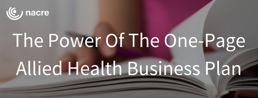The Power Of The One-Page Allied Health Business Plan